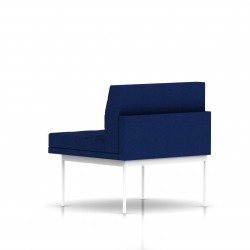 Fauteuil Tuxedo Herman Miller 1 place - structure blanche - Surpiqures - Tissu Ottoman Bleu