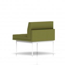 Fauteuil Tuxedo Herman Miller 1 place - structure blanche - Surpiqures - Tissu Ottoman Willow