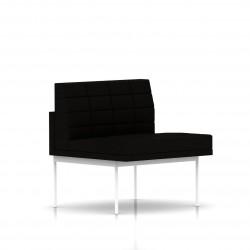 Fauteuil Tuxedo Herman Miller 1 place - structure blanche - Surpiqures - Tissu Ottoman Noir