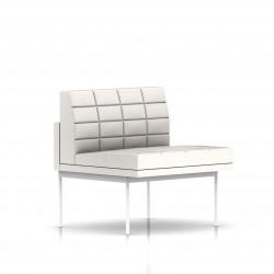 Fauteuil Tuxedo Herman Miller 1 place - structure blanche - Surpiqures - Cuir MCL Pearl
