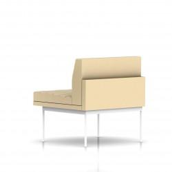 Fauteuil Tuxedo Herman Miller 1 place - structure blanche - Surpiqures - Cuir MCL Almond