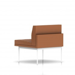Fauteuil Tuxedo Herman Miller 1 place - structure blanche - Surpiqures - Cuir MCL Luggage