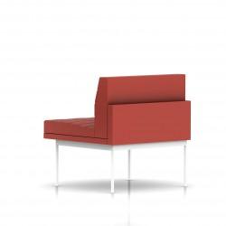 Fauteuil Tuxedo Herman Miller 1 place - structure blanche - Surpiqures - Cuir MCL Rouge