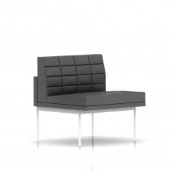 Fauteuil Tuxedo Herman Miller 1 place - structure blanche - Surpiqures - Cuir MCL Lava