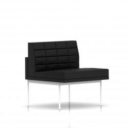 Fauteuil Tuxedo Herman Miller 1 place - structure blanche - Surpiqures - Cuir MCL Noir