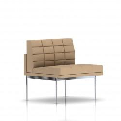 Fauteuil Tuxedo Herman Miller 1 place - structure chromée - Surpiqures - Tissu Ottoman Camel