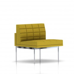 Fauteuil Tuxedo Herman Miller 1 place - structure chromée - Surpiqures -  Tissu Ottoman Citron