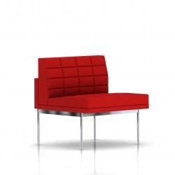 Fauteuil Tuxedo Herman Miller 1 place - structure chromée - Surpiqures - Tissu Ottoman Rouge