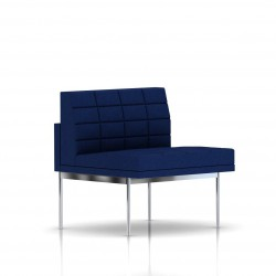 Fauteuil Tuxedo Herman Miller 1 place - structure chromée - Surpiqures -  Tissu Ottoman Bleu
