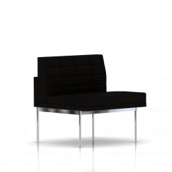 Fauteuil Tuxedo Herman Miller 1 place - structure chromée - Surpiqures - Tissu Ottoman Noir