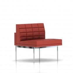 Fauteuil Tuxedo Herman Miller 1 place - structure chromée - Surpiqures - Cuir MCL Rouge