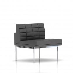 Fauteuil Tuxedo Herman Miller 1 place - structure chromée - Surpiqures - Cuir MCL Lava