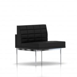 Fauteuil Tuxedo Herman Miller 1 place - structure chromée - Surpiqures - Cuir MCL Noir