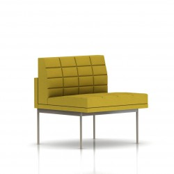 Fauteuil Tuxedo Herman Miller 1 place - structure satin chrome - Surpiqures - Tissu Ottoman Citron