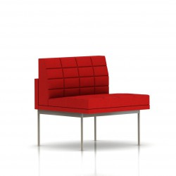 Fauteuil Tuxedo Herman Miller 1 place - structure satin chrome - Surpiqures - Tissu Ottoman Rouge