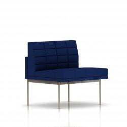 Fauteuil Tuxedo Herman Miller 1 place - structure satin chrome - Surpiqures -  Tissu Ottoman Bleu