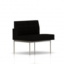 Fauteuil Tuxedo Herman Miller 1 place - structure satin chrome - Surpiqures - Tissu Ottoman Noir