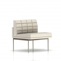 Fauteuil Tuxedo Herman Miller 1 place - structure satin chrome - Surpiqures - Cuir MCL Ivoire