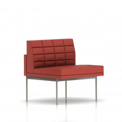 Fauteuil Tuxedo Herman Miller 1 place - structure satin chrome - Surpiqures - Cuir MCL Rouge