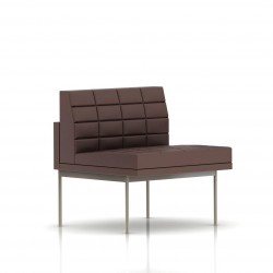 Fauteuil Tuxedo Herman Miller 1 place - structure satin chrome - Surpiqures - Cuir MCL Brun