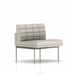 Fauteuil Tuxedo Herman Miller 1 place - structure satin chrome - Surpiqures - Cuir MCL Stone