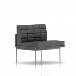 Fauteuil Tuxedo Herman Miller 1 place - structure satin chrome - Surpiqures - Cuir MCL Lava
