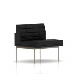 Fauteuil Tuxedo Herman Miller 1 place - structure satin chrome - Surpiqures - Cuir MCL Noir