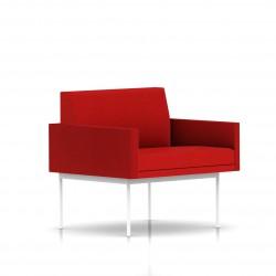 Fauteuil Tuxedo Herman Miller 1 place - avec accoudoirs - structure blanche - Tissu Ottoman Rouge