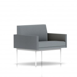 Fauteuil Tuxedo Herman Miller 1 place - avec accoudoirs - structure blanche - Tissu Ottoman Oxford