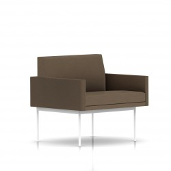 Fauteuil Tuxedo Herman Miller 1 place - avec accoudoirs - structure blanche - Tissu Ottoman Trench