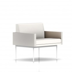 Fauteuil Tuxedo Herman Miller 1 place - avec accoudoirs - structure blanche - Cuir MCL Pearl