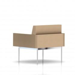 Fauteuil Tuxedo Herman Miller 1 place - avec accoudoirs - structure chromée - Tissu Ottoman Camel