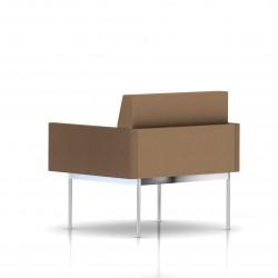 Fauteuil Tuxedo Herman Miller 1 place - avec accoudoirs - structure chromée - Tissu Ottoman Vicuna