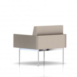 Fauteuil Tuxedo Herman Miller 1 place - avec accoudoirs - structure chromée - Tissu Ottoman Stone