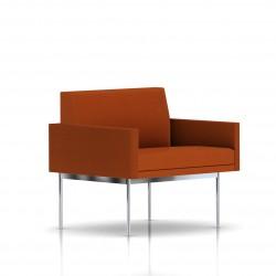 Fauteuil Tuxedo Herman Miller 1 place - avec accoudoirs - structure chromée - Tissu Ottoman Luggage