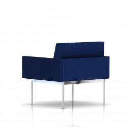 Fauteuil Tuxedo Herman Miller 1 place - avec accoudoirs - structure chromée - Tissu Ottoman Bleu