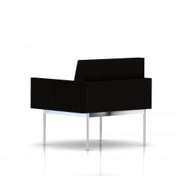 Fauteuil Tuxedo Herman Miller 1 place - avec accoudoirs - structure chromée - Tissu Ottoman Noir