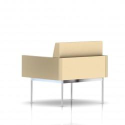 Fauteuil Tuxedo Herman Miller 1 place - avec accoudoirs - structure chromée - Cuir MCL Almond