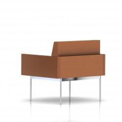 Fauteuil Tuxedo Herman Miller 1 place - avec accoudoirs - structure chromée - Cuir MCL Luggage