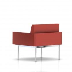 Fauteuil Tuxedo Herman Miller 1 place - avec accoudoirs - structure chromée - Cuir MCL Rouge