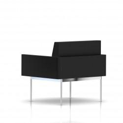 Fauteuil Tuxedo Herman Miller 1 place - avec accoudoirs - structure chromée - Cuir MCL Noir