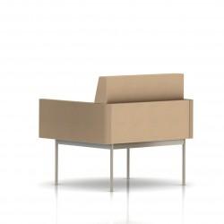 Fauteuil Tuxedo Herman Miller 1 place - avec accoudoirs - structure satin chrome - Tissu Ottoman Camel