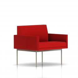 Fauteuil Tuxedo Herman Miller 1 place - avec accoudoirs - structure satin chrome - Tissu Ottoman Rouge