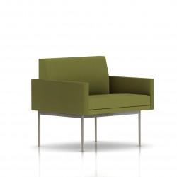 Fauteuil Tuxedo Herman Miller 1 place - avec accoudoirs - structure satin chrome - Tissu Ottoman Willow
