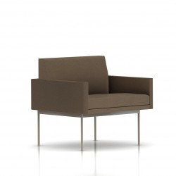 Fauteuil Tuxedo Herman Miller 1 place - avec accoudoirs - structure satin chrome - Tissu Ottoman Trench