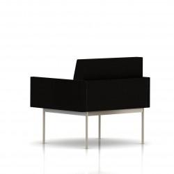 Fauteuil Tuxedo Herman Miller 1 place - avec accoudoirs - structure satin chrome - Tissu Ottoman Noir