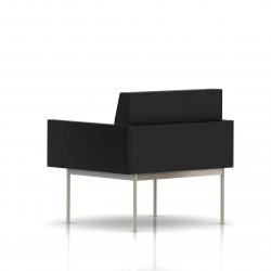 Fauteuil Tuxedo Herman Miller 1 place - avec accoudoirs - structure satin chrome - Cuir MCL Noir