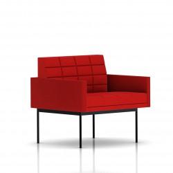 Fauteuil Tuxedo Herman Miller 1 place - avec accoudoirs - surpiqures - structure noire - Tissu Ottoman Rouge