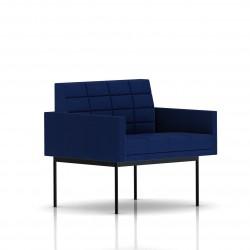 Fauteuil Tuxedo Herman Miller 1 place - avec accoudoirs - surpiqures - structure noire - Tissu Ottoman Bleu