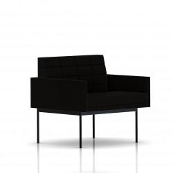 Fauteuil Tuxedo Herman Miller 1 place - avec accoudoirs - surpiqures - structure noire - Tissu Ottoman Noir